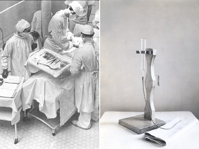 Preparing for surgery in the 1950s (left) and an apparatuses used to feed infants (right).