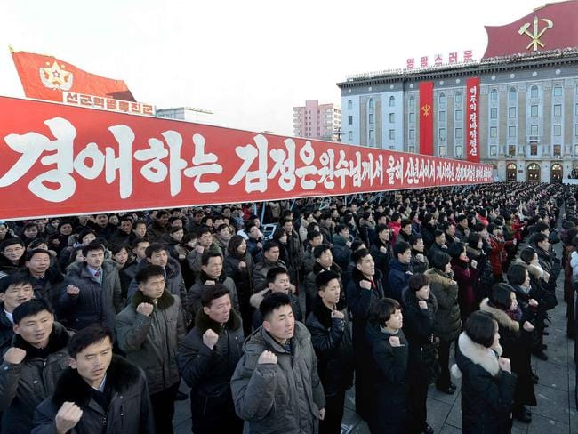 Ready for war ... a mass rally in response North Korean leader Kim Jong-un in Pyongyang. Picture: AFP