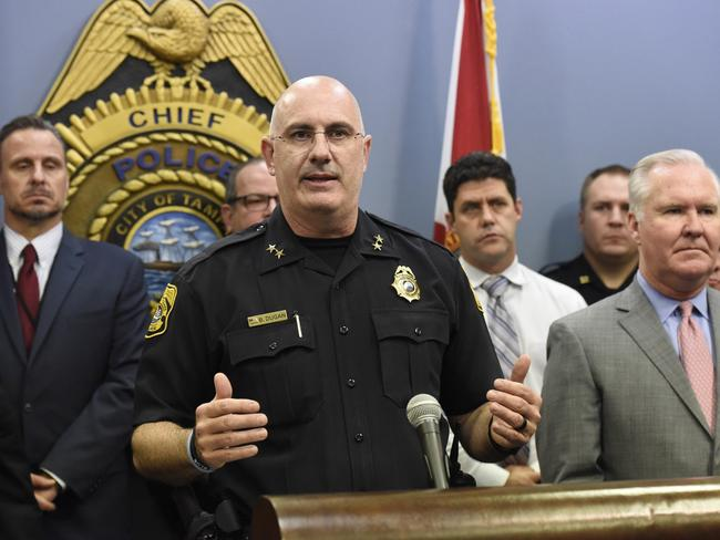 Tampa Police Chief Brian Dugan, said authorities still don't have a motive for the killings. Picture: Chris Urso/Tampa Bay Times via AP
