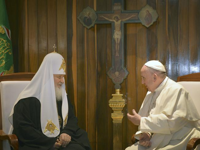 Patriarch Kirill, left, and Pope Francis spoke through interpreters during their historic meeting at Jose Marti airport in Havana.