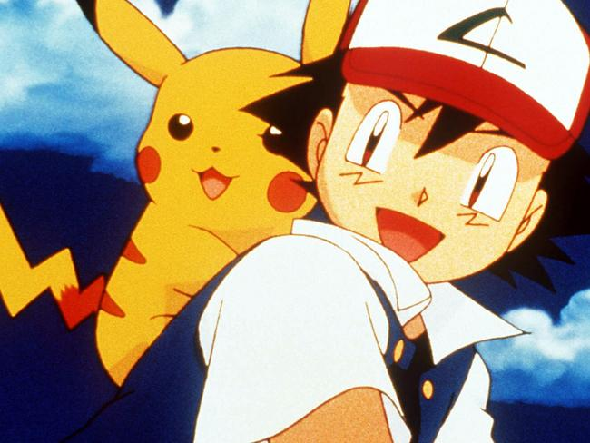 "Ash Ketchum with Pikachu in this image from the animated cartoon show, ""Pokemon"". characters headshot"
