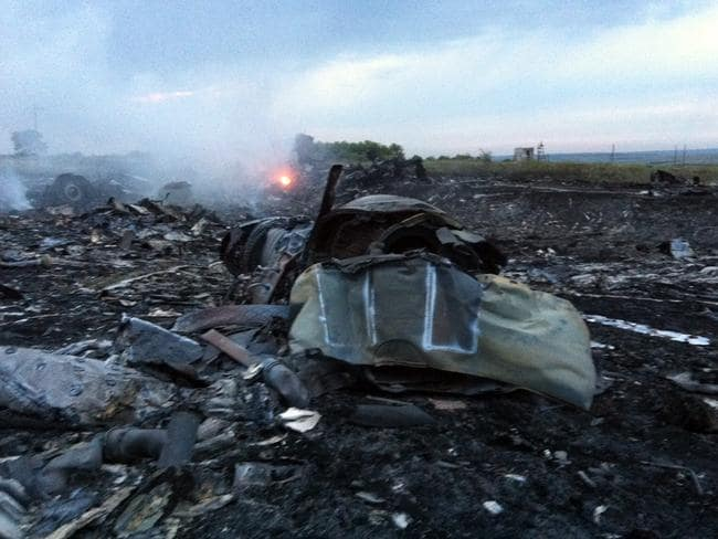 The wreckage of Malaysia Airlines MH17.