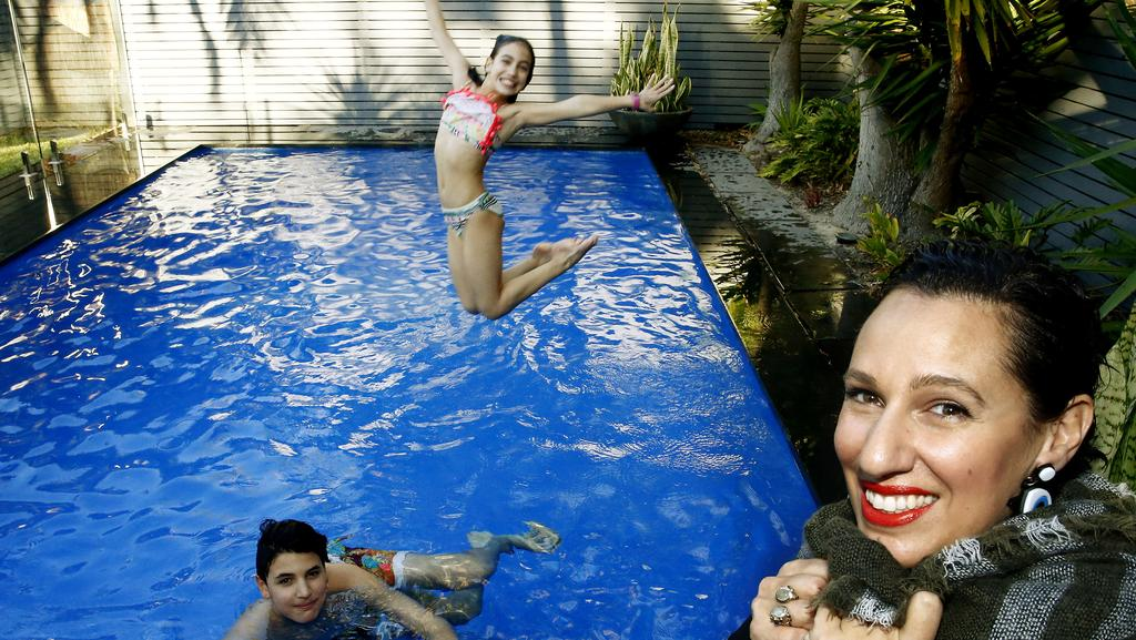 Pina Ambrosino and kids Johnny and Lola enjoy their home at 93 Dover Rd, Rose Bay, which is perfect for a winter sale. Picture: John Appleyard