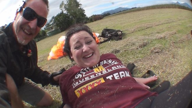 Kate Easton and her instructor from Skydive Cairns after landing. Picture: Skydive Cairns