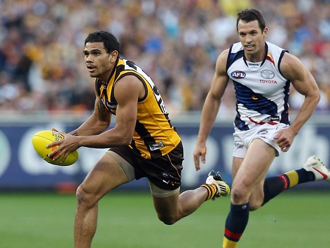 Hawthorn forward Cyril Rioli in full flight during the first half at the MCG. Picture: Michael Klein