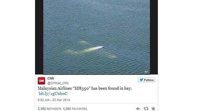 """Malaysian Airlines 'MH370' has been found in bay."""