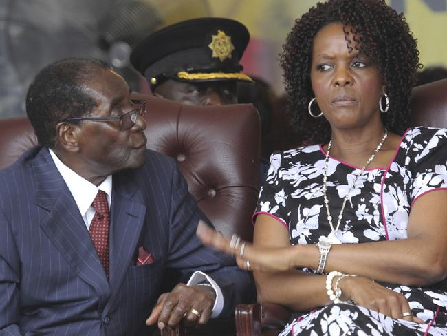 Zimbabwe President Robert Mugabe and his wife Grace attend his birthday celebrations in Masvingo last year. Picture: AP