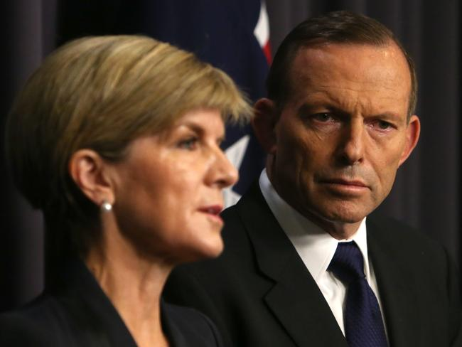'We will withdraw our ambassador' ... Foreign Affairs Minister Julie Bishop and PM Tony Abbott hold a press conference in Canberra. Pic: Kym Smith