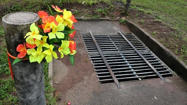 The drain in Palmerston where little Richard Baird drowned.