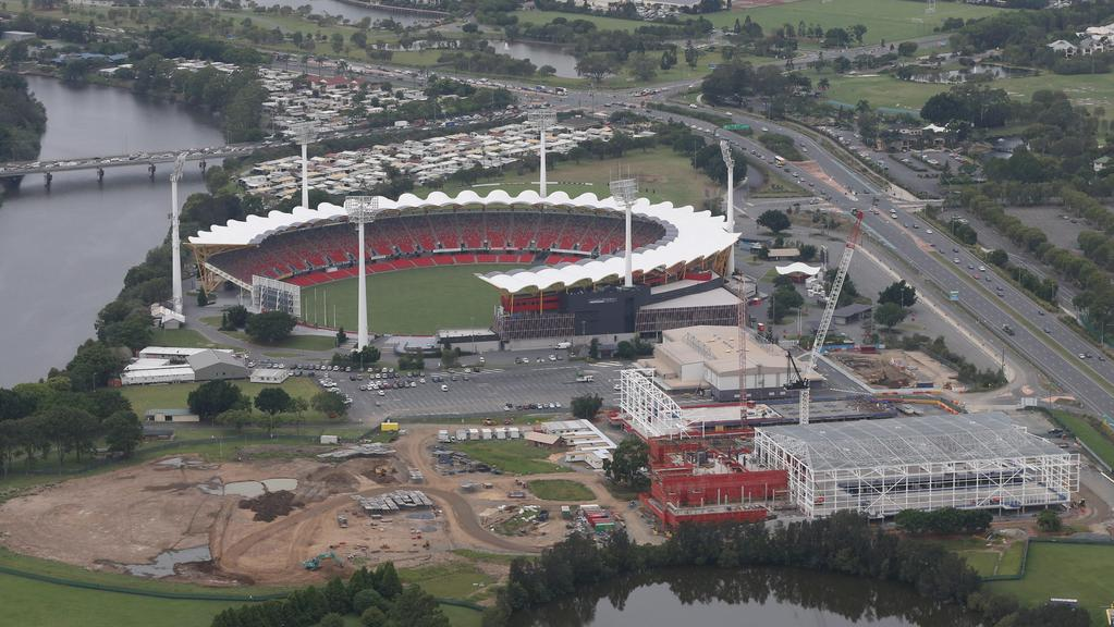 Aerial photographs of Commonwealth Games venues under construction on the Gold Coast. Metricon Stadium and the Carrara games precinct. Photo: Glenn Hampson