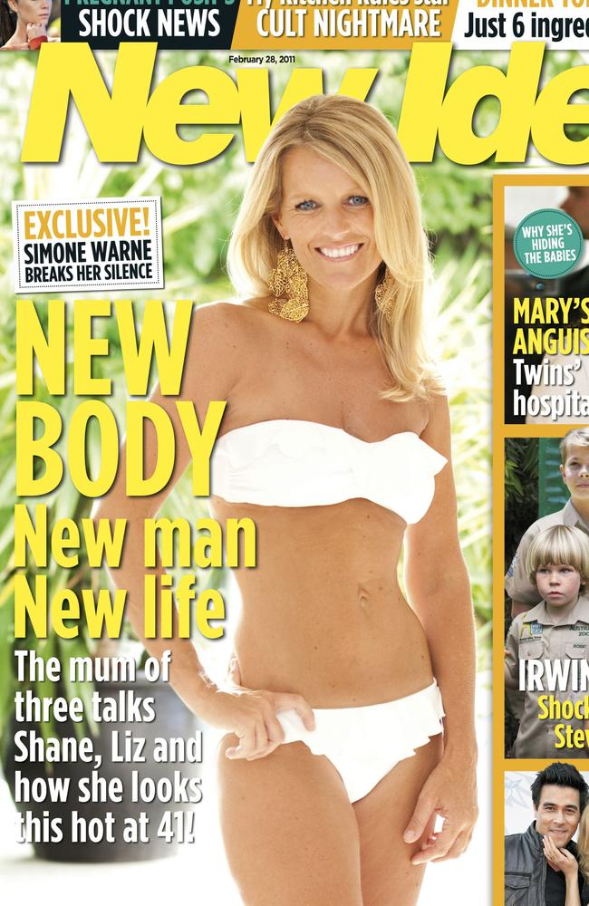 Shane Warne's ex-wife Simone Callahan on the cover of 'New Idea'.