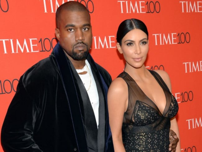 Kanye West, left, and Kim Kardashian attend the TIME 100 Gala, in New York. Picture: AP