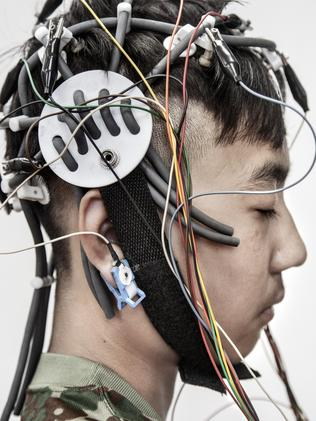 A resident at the Internet Addiction Treatment Centre (IATC) is wired up for electroencephalogram scans to measure brain activity. Picture: Fernando Moleres/Panos Pictures