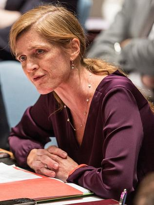 United States U.N. Rep Samantha Power speaks at a UNSC meeting about the ongoing Ukrainian-Russian conflict Picture: Andrew Burton