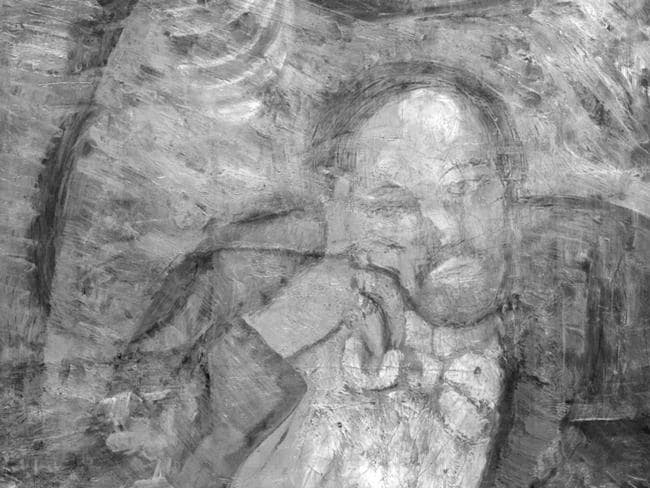 Who is he? ... experts have found this painting of a bow-tied man under Picasso's 1901 painting The Blue Room. Picture: AP Photo/The Phillips Collection