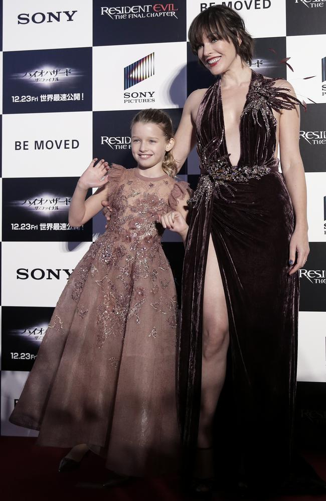 First-time actor Ever Anderson at the world premiere of Resident Evil: The Final Chapter with her mother, and the film's leading lady, Milla Jovovich. Picture: Sony Pictures