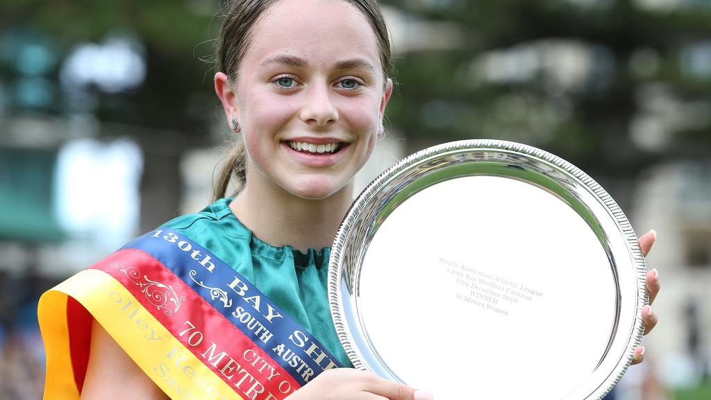 Molly Farmer after her Bay Sheffield win. Now she's starred in a Victorian event as well. Picture: Stephen Laffer
