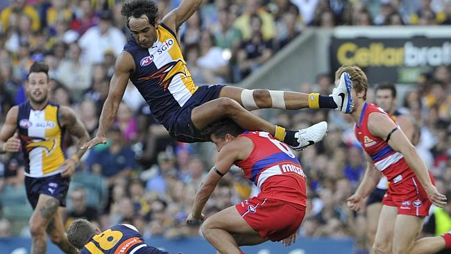 West Coast Eagles v Western Bulldogs at Pattersons Stadium in Perth. pictured — Eagle Jamie Bennell takes a tumble. Picture: Justin Benson-Cooper