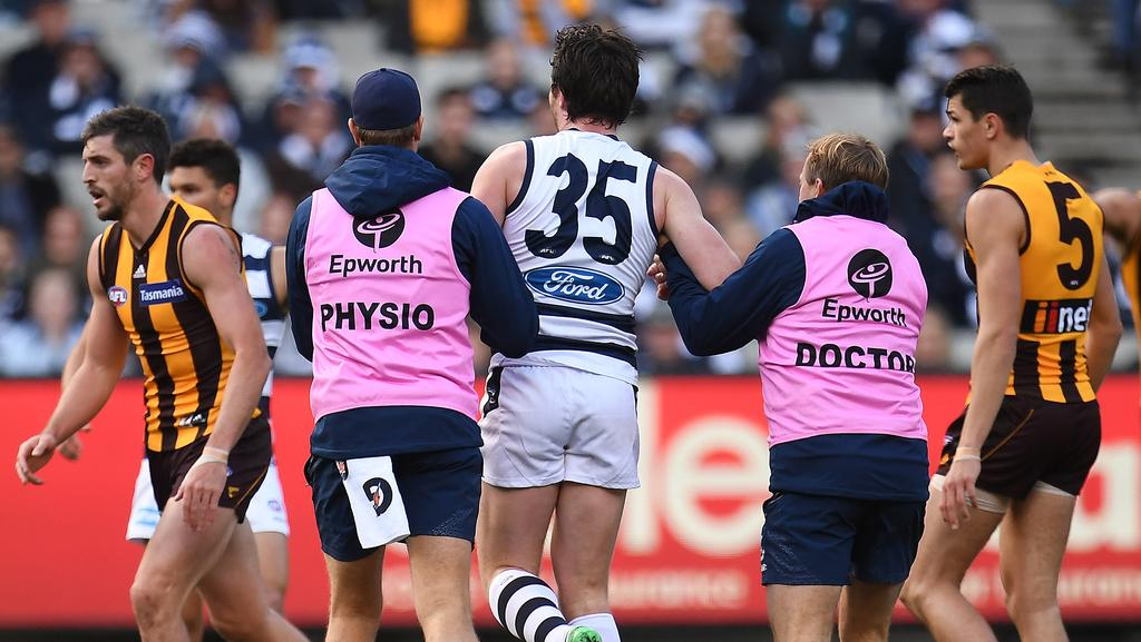 Patrick Dangerfield in the hands of trainers. Photo: AP Image/Julian Smith