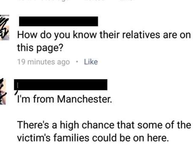 There are concerns over the fact family members or friends of victims might be in the group