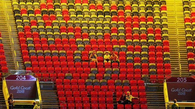 The embarrassing scene as spectators left the stadium during the closing ceremony. Picture: A Carlile/MEGA