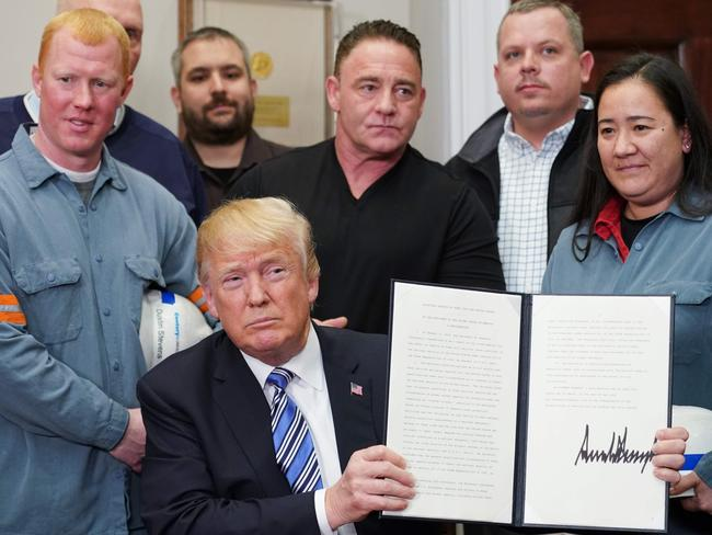 Mr Trump said his move was about protecting US workers. Picture: Mandel Ngan/AFP