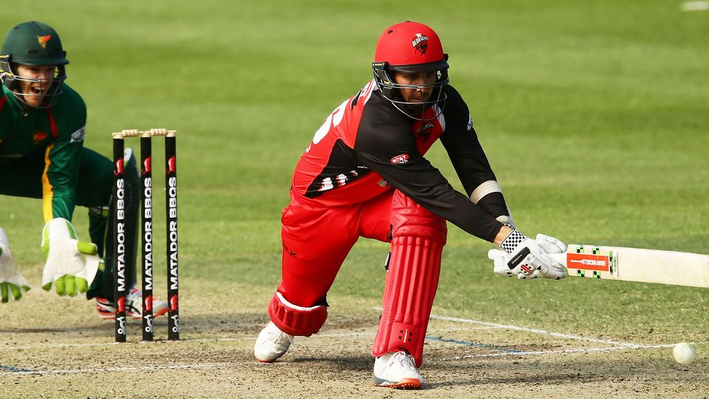 Attacking intent ... Redbacks batsman Tom Cooper plays a shot during his team's Matador Cup clash against Tasmania. Picture: Matt King (Getty Images)