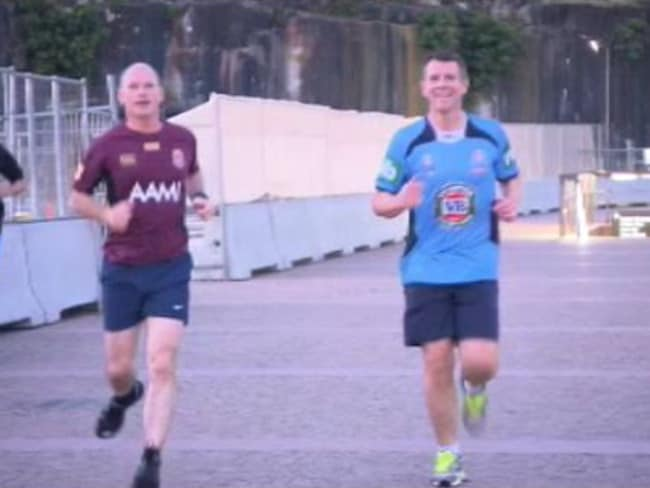 Channel 9 Twitter photo of Mike Baird and Campbell Newman going for a run this morning.