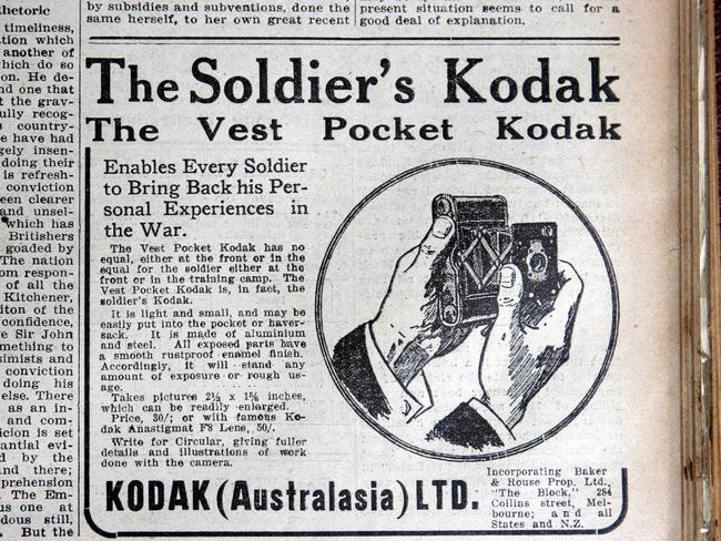 1915: As this ad from The Weekly Times in 1915 shows, Kodak (Australasia) Ltd established itself in Australian from 1900 when its first store opened in Collins St. Picture: Herald Sun Image Library