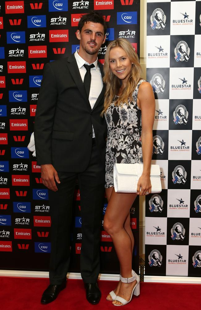 Collingwood skipper Scott Pendlebury and fiancee Alex Davis.