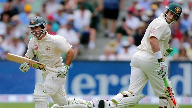 CHERISHED: Ricky Ponting and Matt Hayden run between wickets against South Africa at the MCG in 2005.