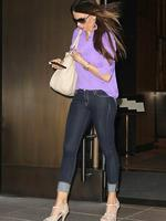 <p>A curvaceous</p>  <p>Sofia Vergara dons bright purple - and some seriously skin-tight jeans - as she leaves her Hotel in Soho. Picture: Snappermedia</p>  <br />