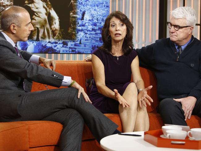 Heartbroken ... US Today Show host Matt Lauer with parents of James Foley, Diane Foley and John Foley in 2013.