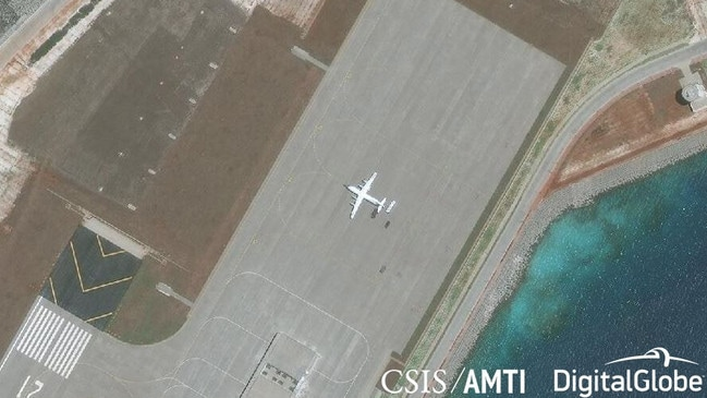 A Shaanxi Y-8 military aircraft at the airstrip on Subi Reef, April 28, 2018. Source: CSIS/AMTI