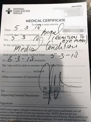 Doctors had to give Angel a medical certificate for her condition. Picture: Clare Boulton/Caters News