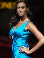 <p>Megan Gale showcasing David Jones Winter Collection Show at Sydney Town Hall in 2006.</p>