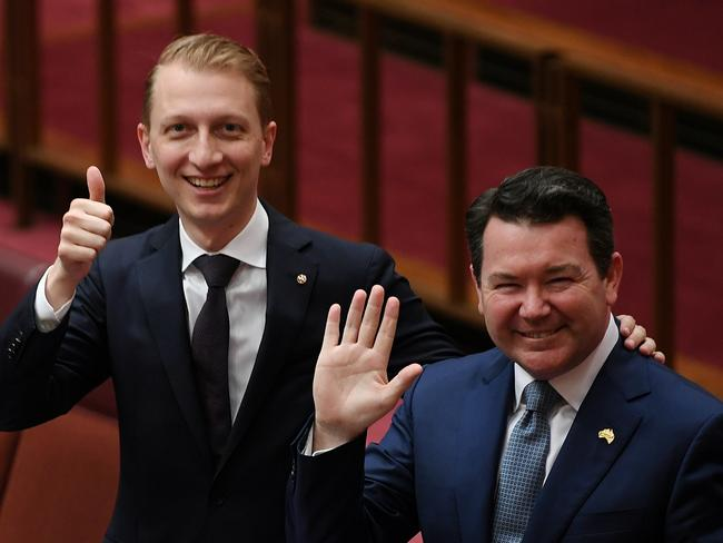 Malcolm Turnbull has backed Liberal Senator Dean Smith's (right) marriage equality bill, while the more conservative arm of the party supports one proposed by James Paterson (right). Picture: AAP/Lukas Coch