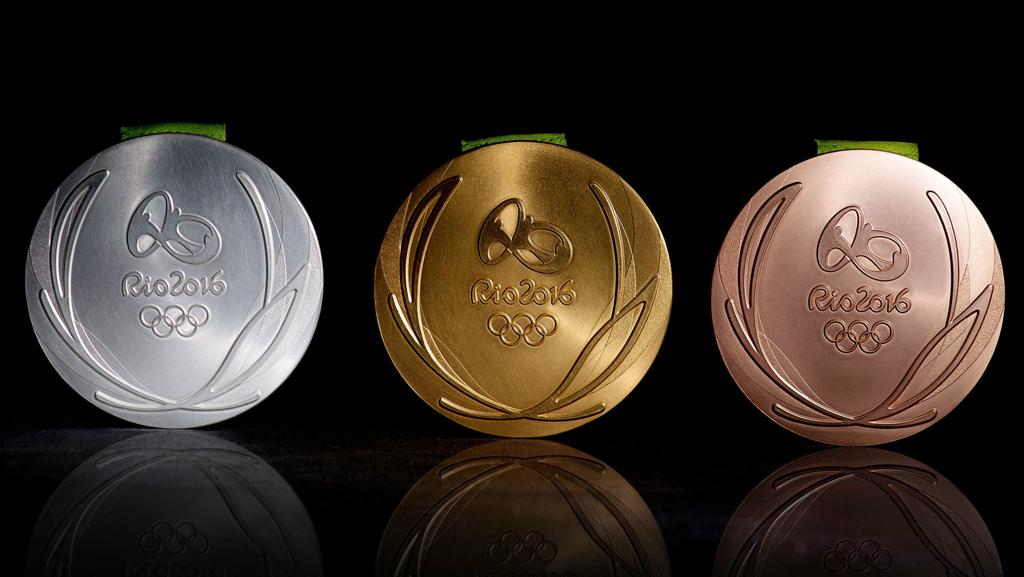 The silver, gold and bronze medals from the 2016 Rio Olympic Games.