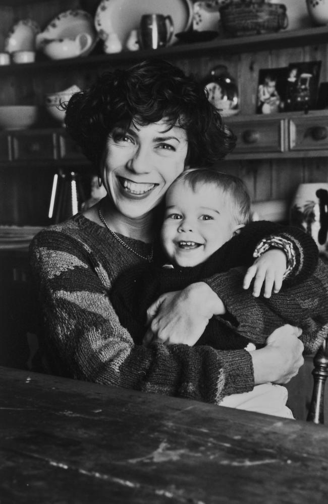 Kathy Lette and her son Julius (Jules) as a nine-month old. Picture: Supplied