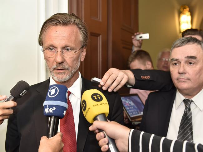 Counsel. Tomas Olsson (L) and Per E Samuelsson, lawyers of WikiLeaks founder Julian Assange, talk to media.