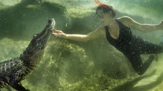 Lawrence gives the aquatic beast a little pat under the chin. Picture: Caters