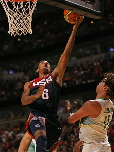 Rose makes an easy lay-up against Brazil.