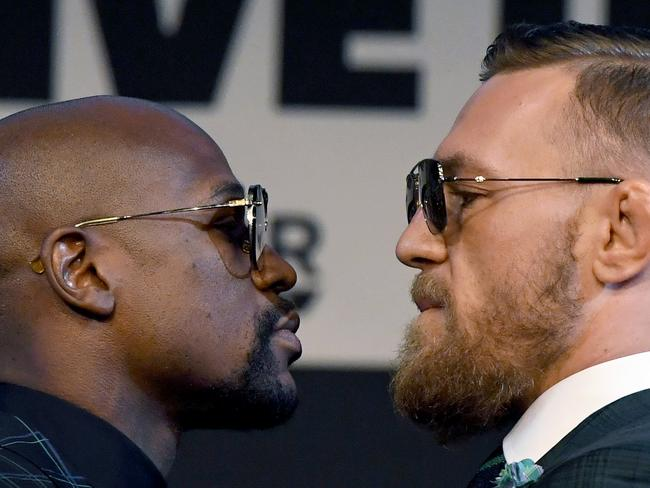 Mayweather and McGregor face off. Picture: Ethan Miller/Getty Images
