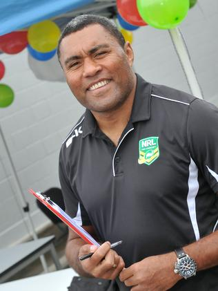 Former NRL star Petero Civoniceva was on hand to sign up new students. Picture: Renae Droop