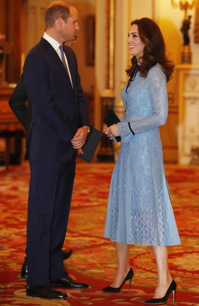 The Duke and Duchess of Cambridge at a reception at Buckingham Palace. Picture: AFP/Pool/Heathcliff O'Malley