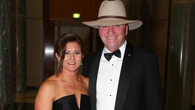 Barnaby Joyce and his estranged wife Natalie arriving at the federal Parliament Midwinter Ball 2017, at Parliament House in Canberra. Picture Ray Strange