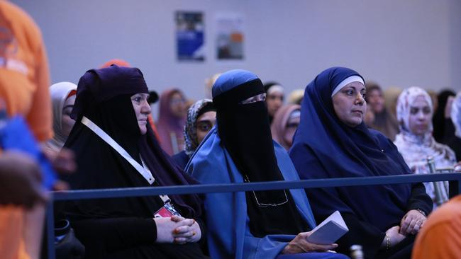 Muslim women in the audience at a Hizb ut-Tahrir conference in Sydney, titled 'A Community Criminalised: Innocent Until Proven Muslim?'