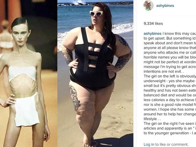 Ashy Bines Instagram post where she comments on women's weight received more than 12,000 likes. Picture: Instagram