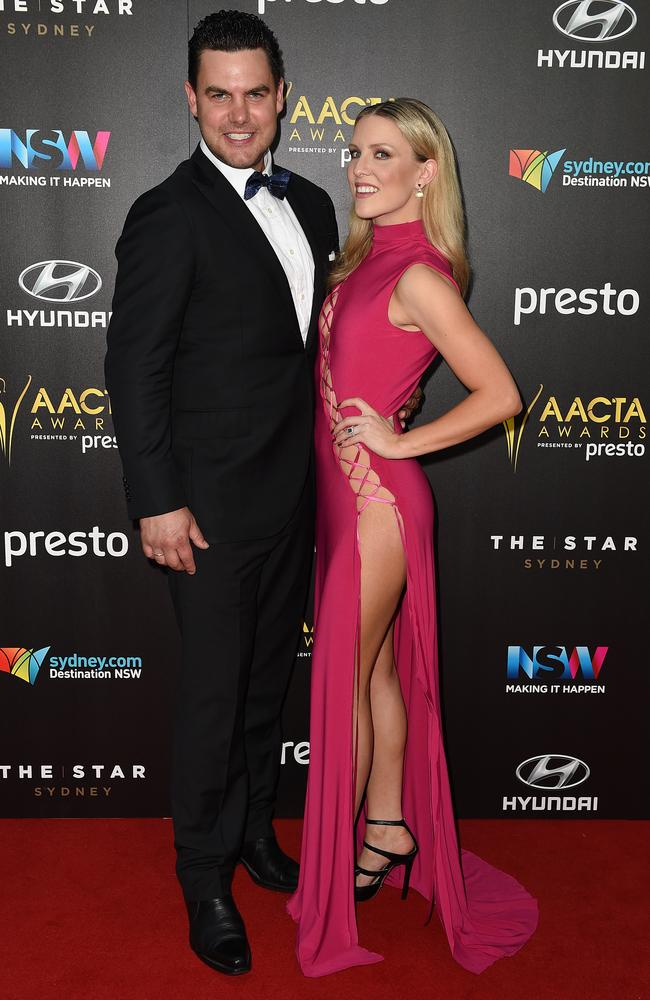 Ben Mingay and Kirby Burgess arrive ahead of the 5th AACTA Awards Presented by Presto at The Star on December 9, 2015 in Sydney, Australia. Picture: AAP