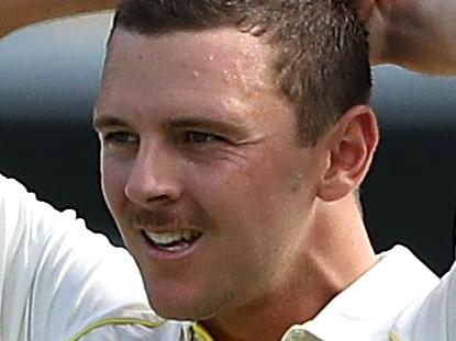 BRISBANE, AUSTRALIA - NOVEMBER 23: Josh Hazlewood of Australia reacts while bowling during day one of the First Test Match of the 2017/18 Ashes Series between Australia and England at The Gabba on November 23, 2017 in Brisbane, Australia.  (Photo by Ryan Pierse/Getty Images)